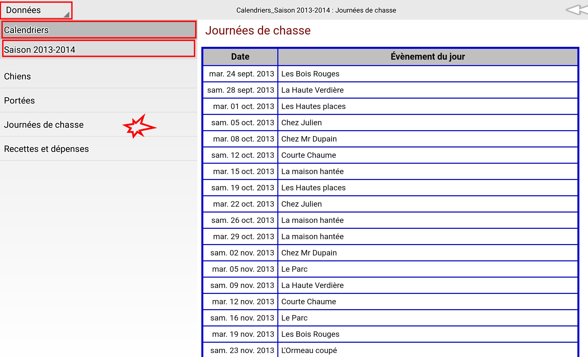 Calendrier chasses
